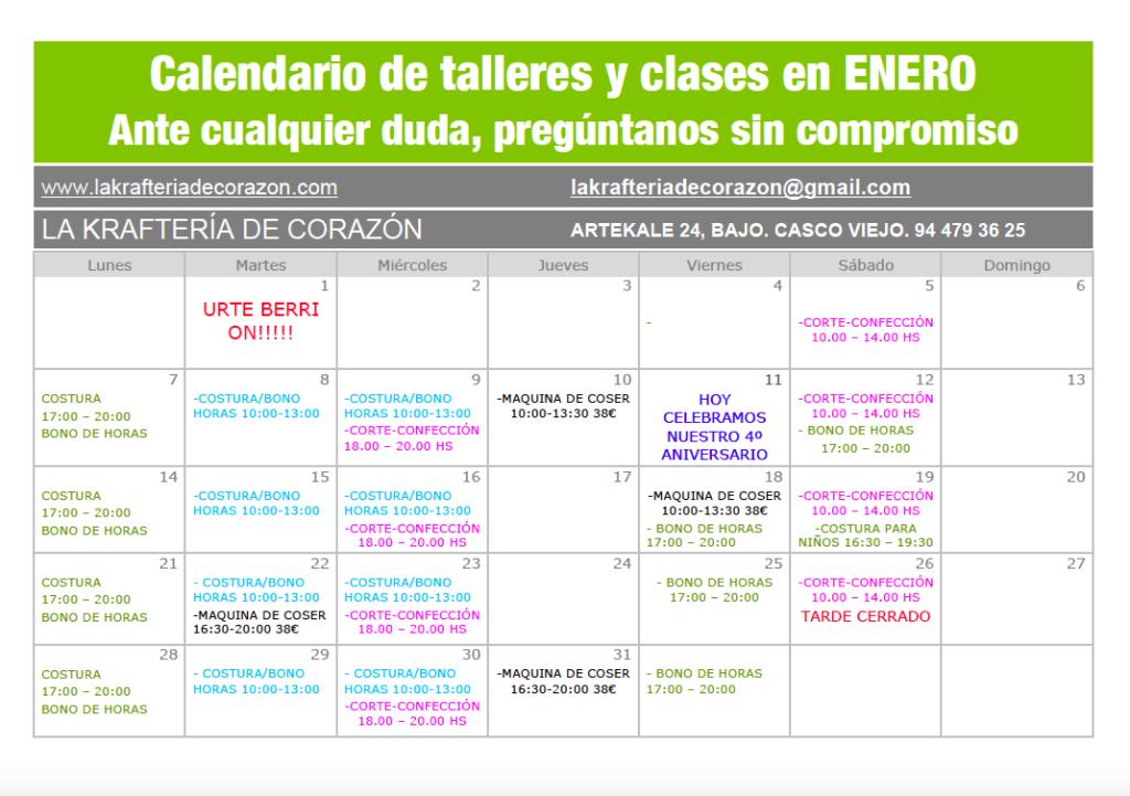Clases de costura en Bilbao. Calendario de La Kraftería en Enero.