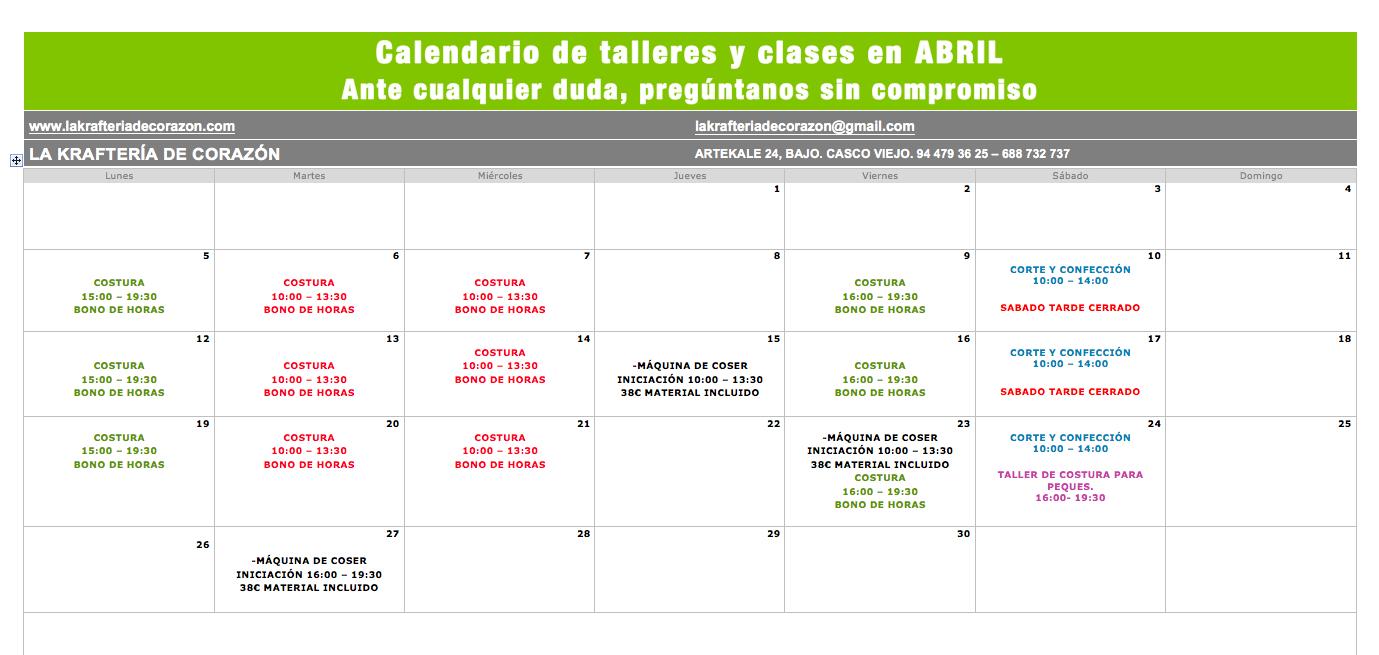 Horario clases Abril de la Krafteria